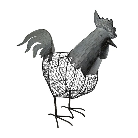 Metal Chicken Wire Decorative Standing Rooster Basket 18 Inch