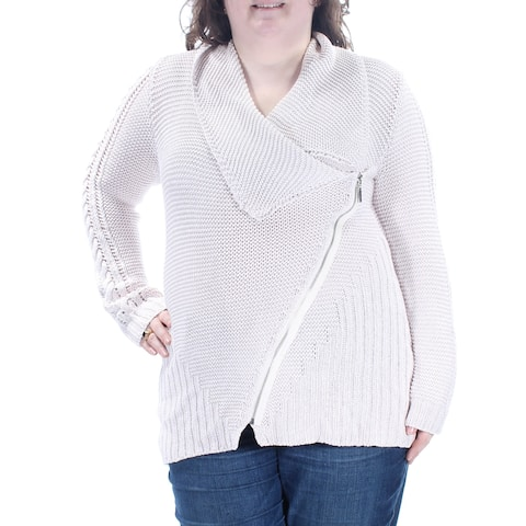 RACHEL ROY Womens Pink Zippered Front Waffle Knit Long Sleeve V Neck Wear To Work Sweater Size: XXL