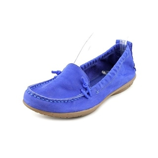 Hush Puppies Ceil Slip On_MT Women Moc Toe Leather Blue Loafer