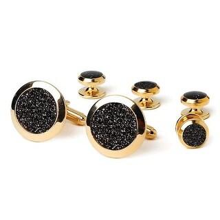 Black Diamond Dust Tuxedo Cufflinks and Studs Gold