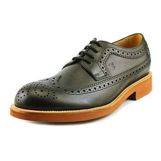 Tod's Derby Bucature Fondo Light OX Men Round Toe Leather Black Oxford