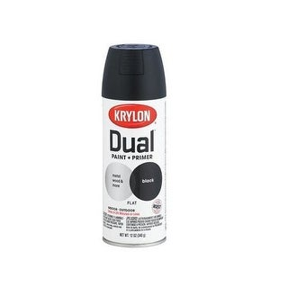 Krylon K08831000 Dual Paint & Primer One Spray Paint, 12 Oz, Flat Black