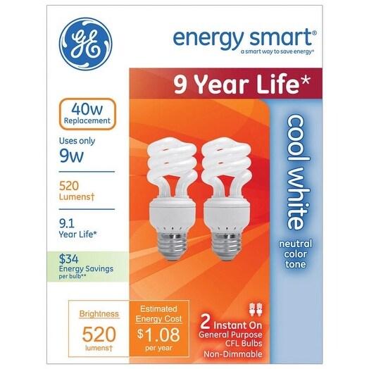 GE 63923 Compact Fluorescent Spiral Bulbs, 9 Watts, 2/Pack