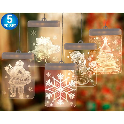 5pc - 3D LED Christmas Window Lights - Indoor Lights - Santa, Snowflake, Jingle Bell, Snowman Christmas Tree Warm White