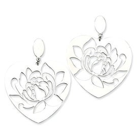 Chisel Stainless Steel Flower Cutout Heart Post Earrings