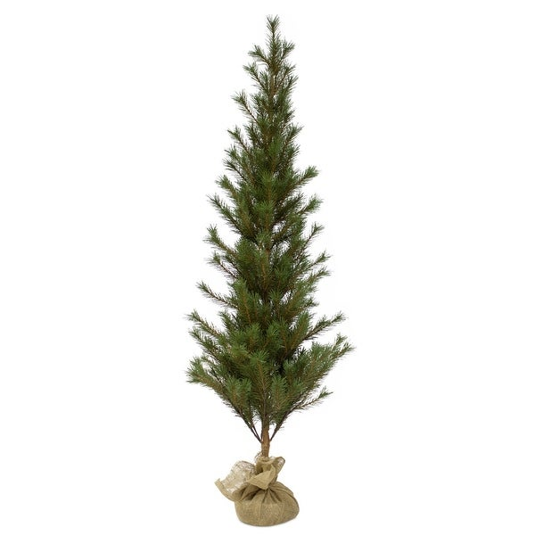 """Shop Set of 4 Green and Brown Christmas Artificial Pine Trees 5""""H - Free Shipping Today - Overstock - 22646859"""