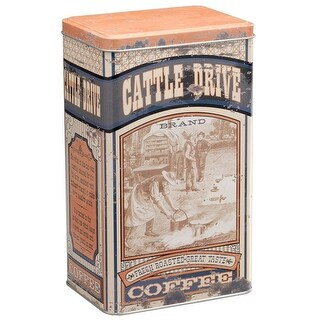 Gift Corral Western Coffee Tin Cattle Drive Themed Brown 87-3493