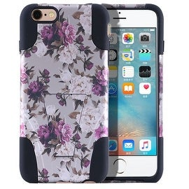 Insten Roses Hard PC/ Silicone Dual Layer Hybrid Case Cover with Stand For Apple iPhone 6 Plus/ 6s Plus