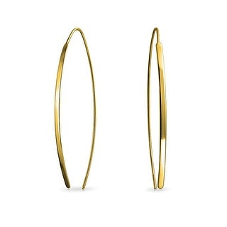 Bling Jewelry Gold Plated 925 Silver Long Oval Linear Threader Earrings