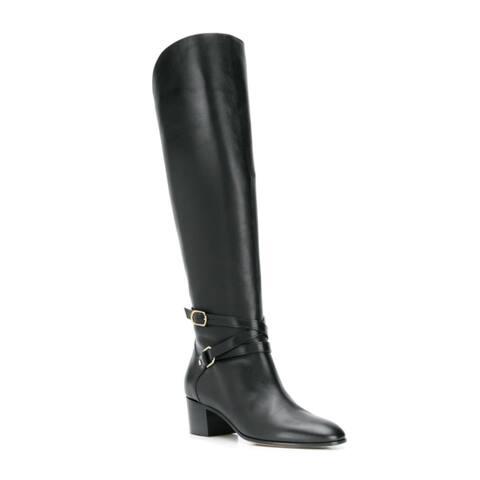 Jimmy Choo Women's Leather Huxlie 45mm Low-Heel Boots Black