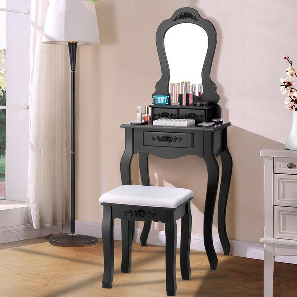 Costway Vanity Wood Makeup Table Stool Jewelry Desk Black/White. Opens flyout.