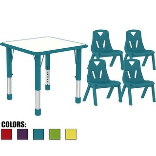 2xhome - Kids Table and Chairs Set Height Adjustable Rectangle Activity Table School Table Childs Bright Color Table Preschool
