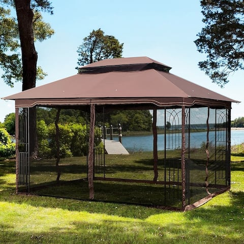 13x10 Outdoor Patio Gazebo Canopy Tent With Ventilated Double Roof And Mosquito Net
