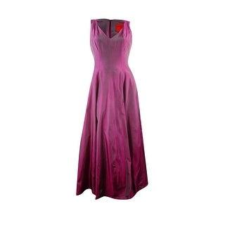 B Michael Women's V-Neck Stiff Taffeta Long Gown