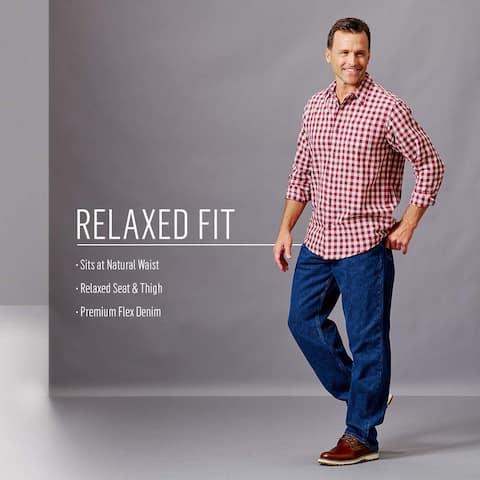 Wrangler Authentics Men's Classic 5-Pocket Relaxed Fit Jean, Black Flex, 50W ... - 50W x 30L