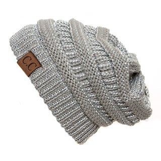 Metallic Thick Knit Soft Stretch Beanie Cap