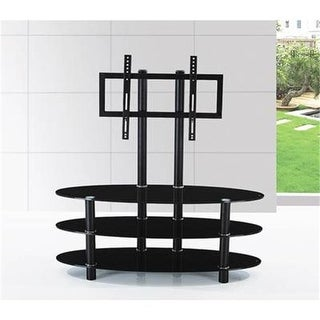 Hodedah Hitv2501 Oval Glass TV Stand with Mount