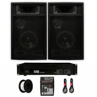 """Acoustic Audio PA-365X Passive 6.5"""" DJ Speakers with Amp Mixer and Wire Set for PA Karaoke Studio Home"""