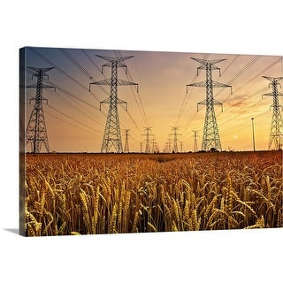 """""""Power lines at sunset."""" Canvas Wall Art"""