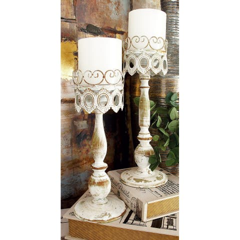Beige Iron Rustic Candle Holder (Set of 2) - 14 x6