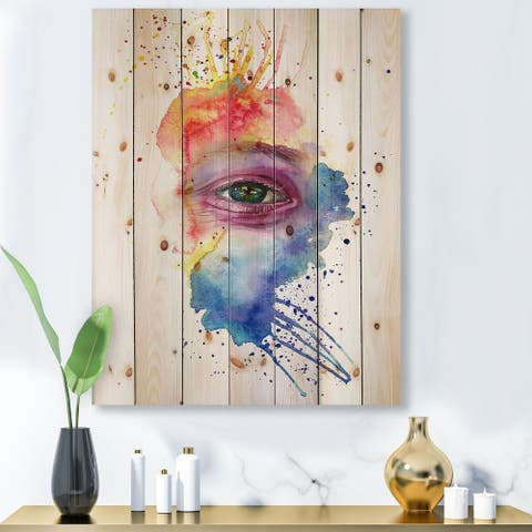 Designart 'Detail of Eye In Multi-Colored Face Portrait' Bohemian & Eclectic Print on Natural Pine Wood