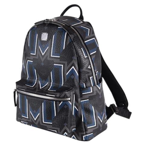 MCM Black Blue Visetos Chevron Logo Medium STARK Backpack Bag