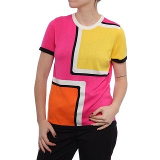 Anne Klein Color Block Short Sleeve Crew Neck Blouse Women Regular Blouse