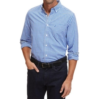Nautica Mens Button-Down Shirt Gingham Oxford