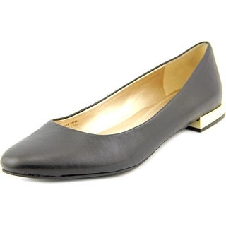 Tahari Ranma Women Round Toe Leather Black Flats