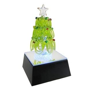 Gorgeous Leaded Glass Christmas Tree Figurine LED Base