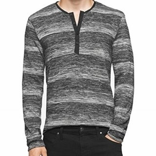 Calvin Klein NEW Gray Mens Size Large L Henley Striped Slim Fit Shirt