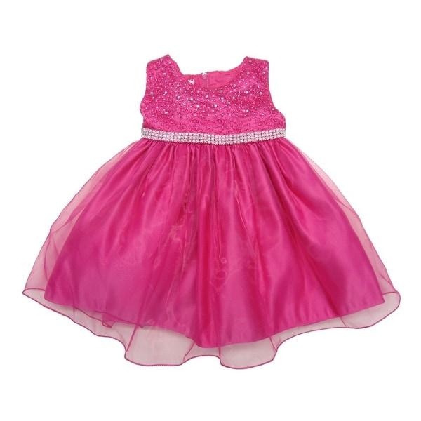 96f74a72e1fe0 Baby Girls Fuchsia Rhinestone Embellished Overlaid Flower Girl Dress