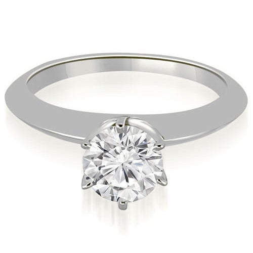 0.75 cttw. 14K White Gold Knife Edge Round Cut Solitaire Engagement Ring