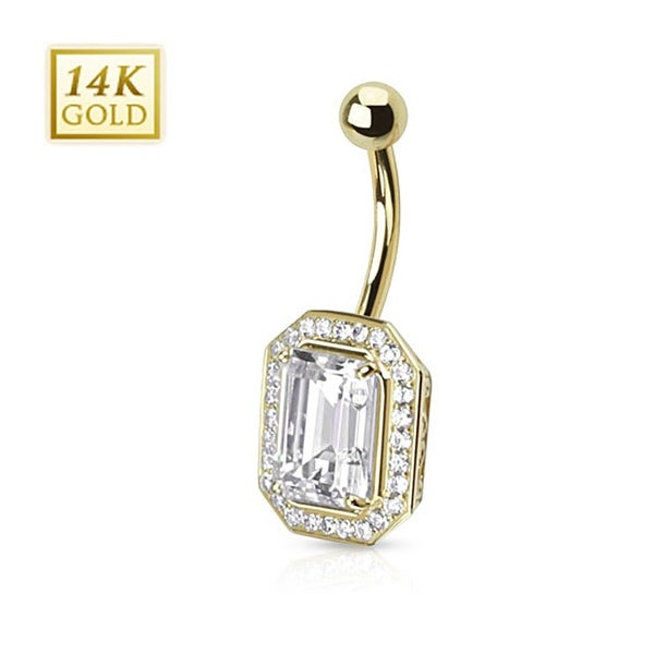 14 Karat Solid Yellow Gold Princess Cut CZ Pronged with Multi Paved Gems Around Navel Belly Button Ring