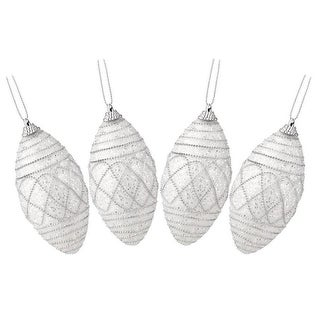 """Set of 4 White and Silver Beaded Swirl Patterns Shatterproof Christmas Ornaments 4.5"""""""