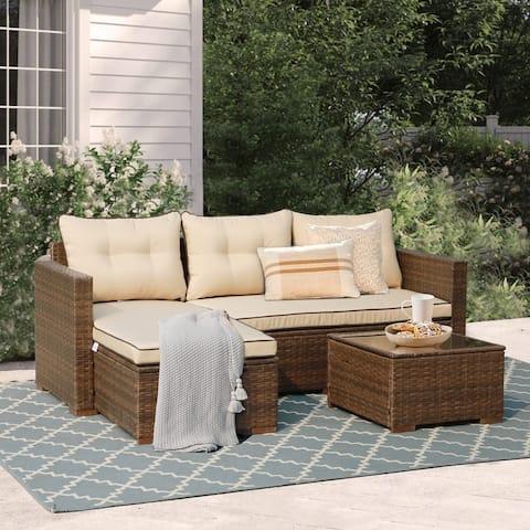 3-Piece Rattan Furniture Conversation Set Cushioned Lounge Chaise