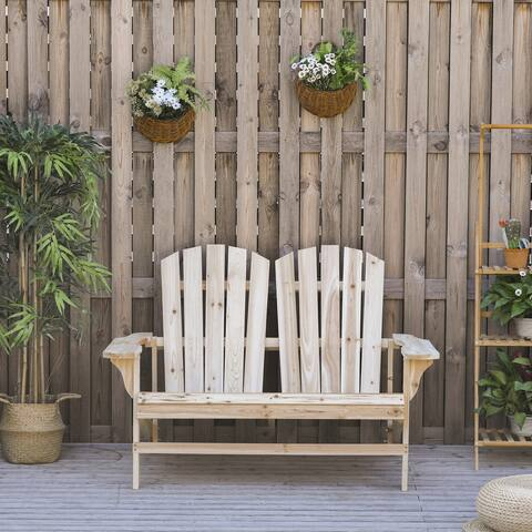 Outsunny Outdoor Adirondack Chair Bench for Two with Ergonomic Design, Wide Armrests, & Fir Wood Build