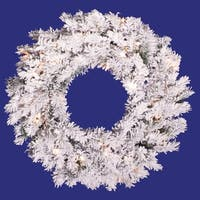 "24"" Pre-Lit Flocked Alaskan Pine Artificial Christmas Wreath - Clear Dura Lights - WHITE"