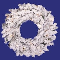"36"" Pre-Lit Flocked Alaskan Pine Artificial Christmas Wreath - Clear Dura Lights - WHITE"