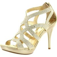 Bonnibel Womens Amy-35 Back Zipper Sparkle Cut Out Evening Wedding Promo Sandal - Light Gold