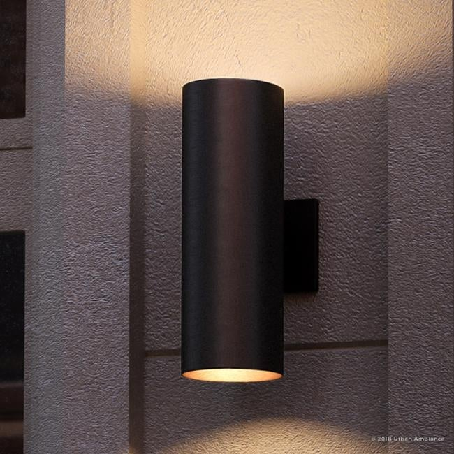Luxury Contemporary Outdoor Wall Light 18 H X 6 W With Art Deco Style Elements Midnight Black Finish By Urban Ambiance
