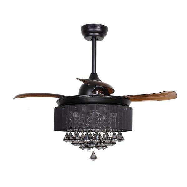 Shop 36 5 inch retractable 4 blades black crystal - Fan with retractable blades ...