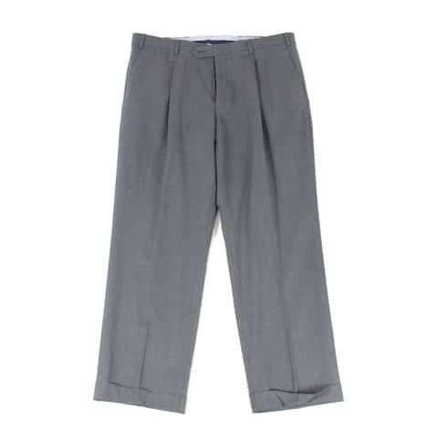 Hart Schaffner Marx Men Pants Gray Size 36X30 Dress Pleat Wool Stretch