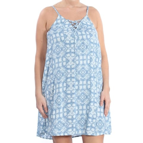 ROXY Womens Blue Lace Up Printed Spaghetti Strap Scoop Neck Above The Knee A-Line Dress Juniors Size: L