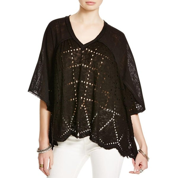 Free People Womens Summer Lovin' Blouse Perforated Linen Blend
