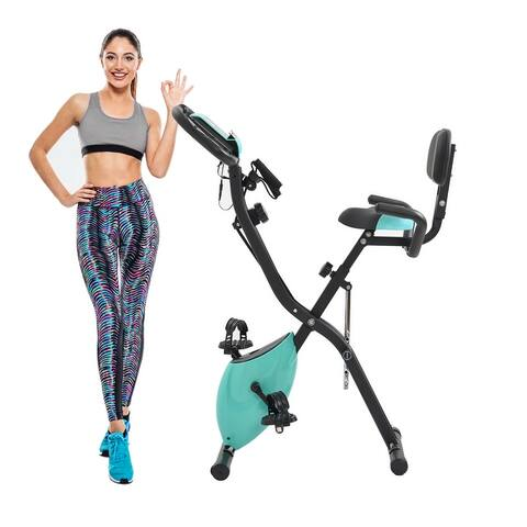 Folding Exercise Bike Fitness Upright and Recumbent Bike Arm Tension