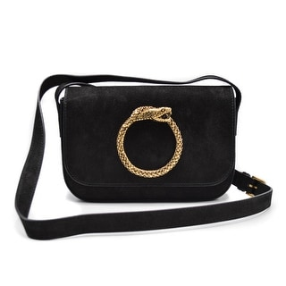 Saint Laurent Eddie Besace Suede Serpent Black Shoulder Bag