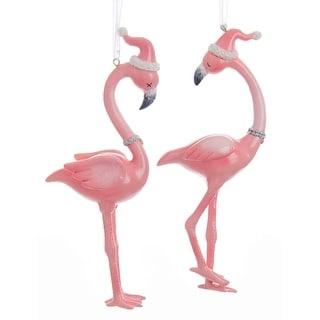 Kurt Adler Millennial Pink Flamingos in Santa Hats  Holiday Ornaments Set of 2