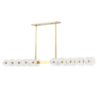 Link to Hudson Valley Austen 20-Light Linear Island Pendant with White Spanish Alabaster Similar Items in Pendant Lights