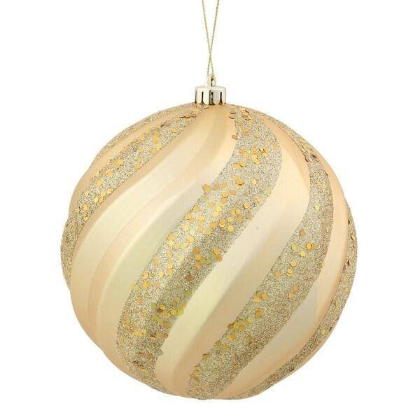 """Vegas Gold Glitter Swirl Shatterproof Christmas Ball Ornament 8"""" (200mm)"""